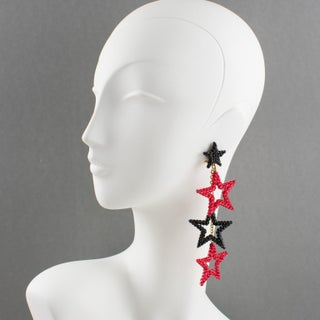 Richard Kerr Dangling Star Clip on Earrings Black and Red Rhinestones Paved Preview