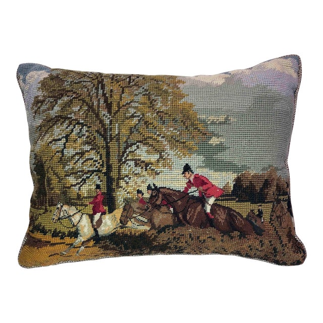 The Hunt ~ Needlepoint Accent Pillow For Sale