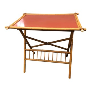 Boho Chic Faux Bamboo Folding Table For Sale