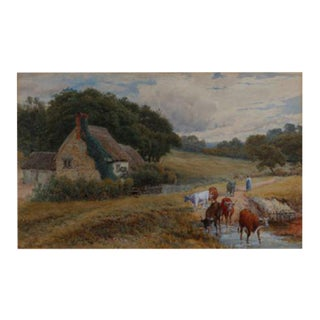 Late 19th Century Cows on a Country Path by Fredrick Williamson For Sale