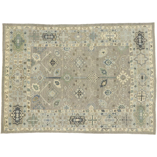 Contemporary Turkish Oushak Rug With Modern Style - 08'11 X 12'07 For Sale - Image 9 of 9