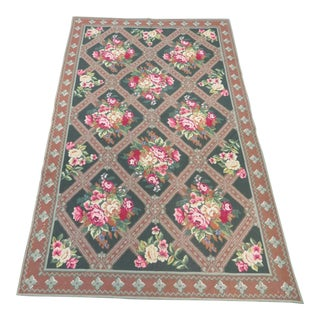 French Aubusson Roses Area Rug