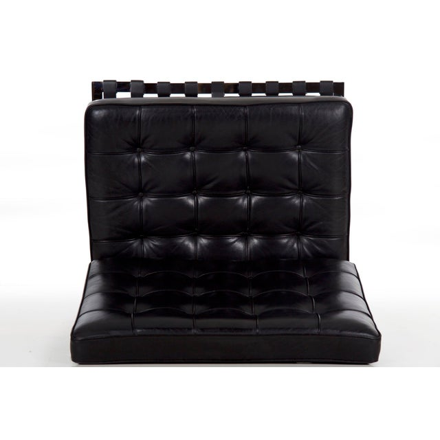Mid Century Modern Black Leather and Chrome Steel Barcelona Chair, Circa 21st Century For Sale - Image 10 of 13