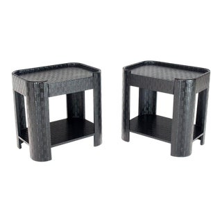 1970s Mid-Century Modern Lacquered Raffia Cloth End Tables - a Pair For Sale