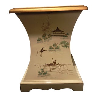 1950s Vintage Hand Painted Lacquered Chinoiserie Pedestal Side Table Stool For Sale