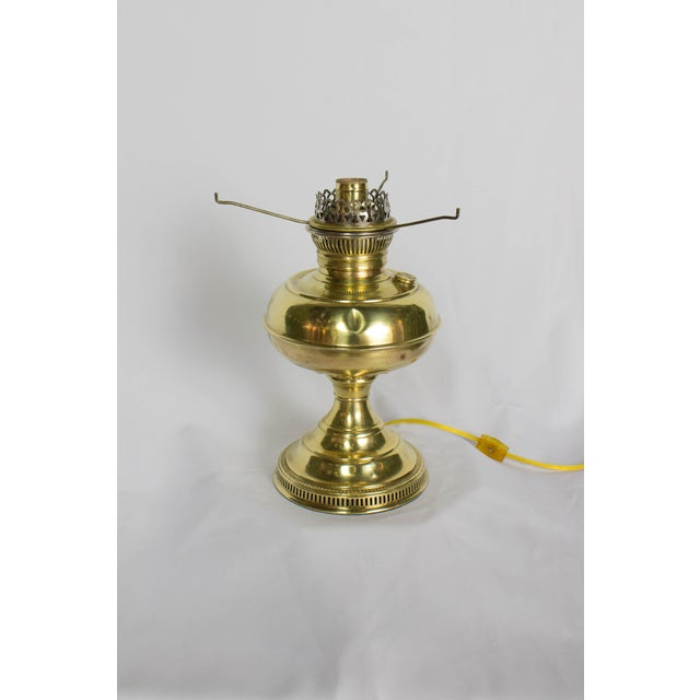 Restored Antique Brass Rayo Oil Lamp, Electrified For Sale - Image 4 of 8