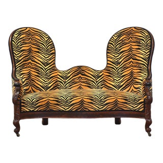 1800s Antique Victorian Spoonback Sofa For Sale