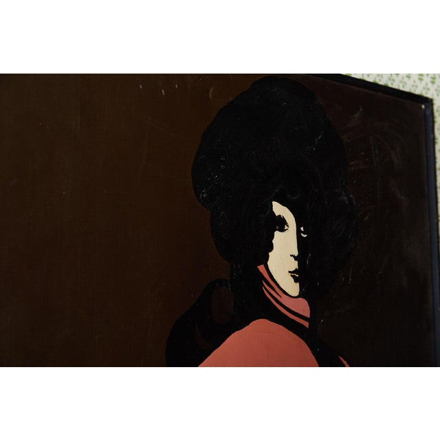 Mid 20th Century 60s Mod Stylized Portrait of a Woman For Sale - Image 5 of 9