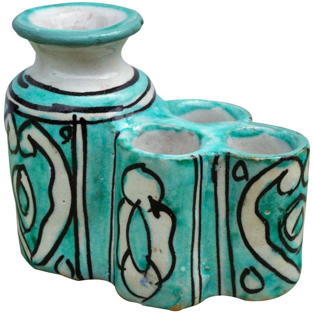 Moroccan Ceramic Inkwell & Candle Holder For Sale - Image 4 of 9