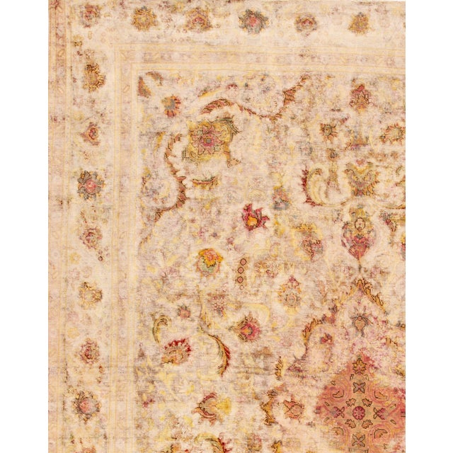 Antique Ivory Kerman Wool Rug For Sale - Image 4 of 6