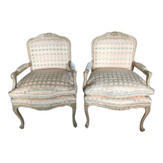 Vintage Louis XV Style Fauteuil Chairs - a Pair For Sale