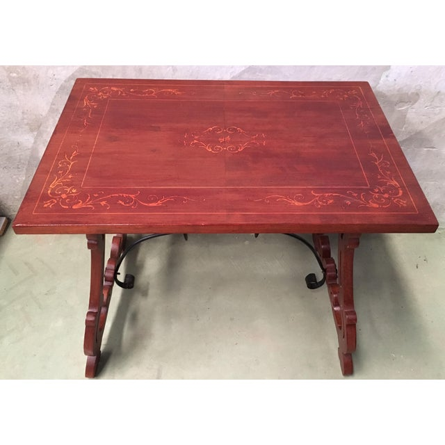 19th Century Baroque Spanish Side Table With Marquetry Top & Lyre Legs For Sale In Miami - Image 6 of 13