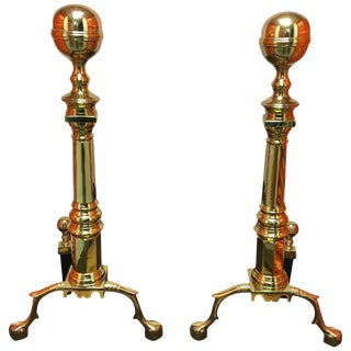 Pair of Williamsburg Style Polished Brass Andirons, 19th Century For Sale