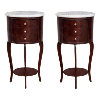 Pair of Louis XV Style Nightstands With Three Drawers and Cabriole Legs For Sale