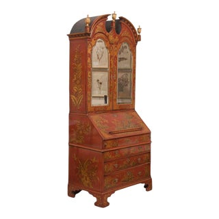 English Scarlet Gilt and Polychrome Japanned Secretary For Sale