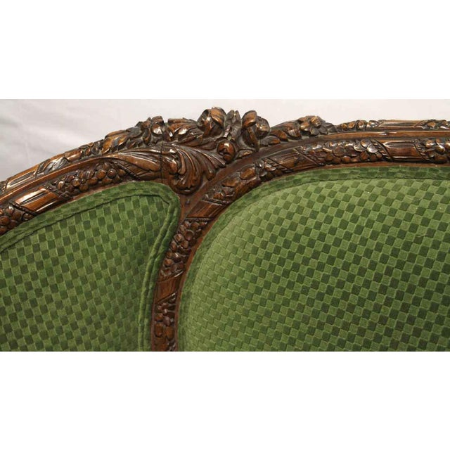 Late 19th Century Carved Wood Frame & Green Upholstery Victorian Sofa For Sale - Image 5 of 13