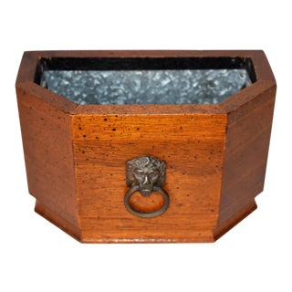 Vintage Walnut Cache Pot For Sale
