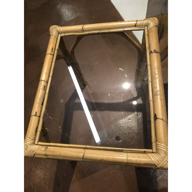 Brown Glass Top Bamboo Side Tables - a Pair For Sale - Image 8 of 13