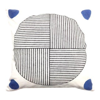 Contemporary Kala Gola Black and White Cotton Pillow For Sale