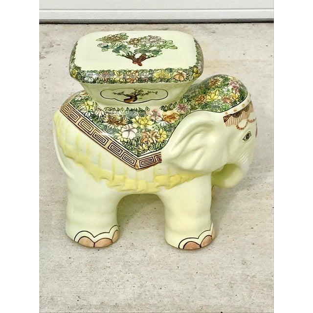 Ceramic 1980s Vintage Elephant Garden Stool For Sale - Image 7 of 7