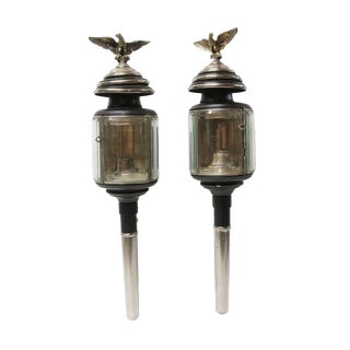 Antique Beveled Glass & Silvered Brass Eagles Carriage Lights - a Pair For Sale