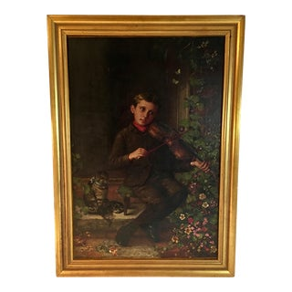 Antique Oil Painting Portrait of Boy With Violin