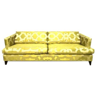 Final Markdown Modern French Silk Chartreuse Quatrefoil Custom Contemporary Sofa For Sale