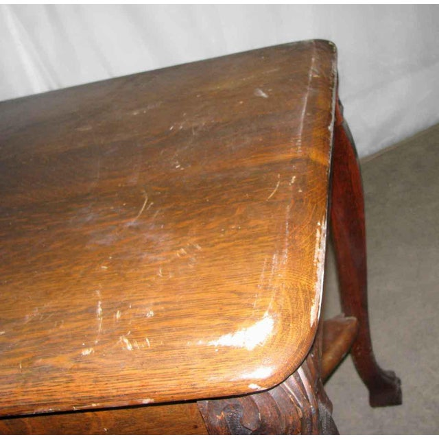 Brown Antique Tiger Oak Table with Cabriole Legs For Sale - Image 8 of 10