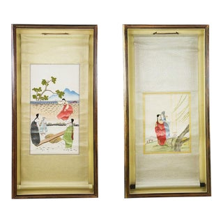Korean Silk Embroidered Scrolls - A Pair