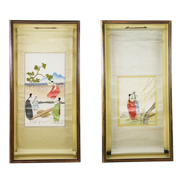 Korean Silk Embroidered Scrolls - A Pair For Sale