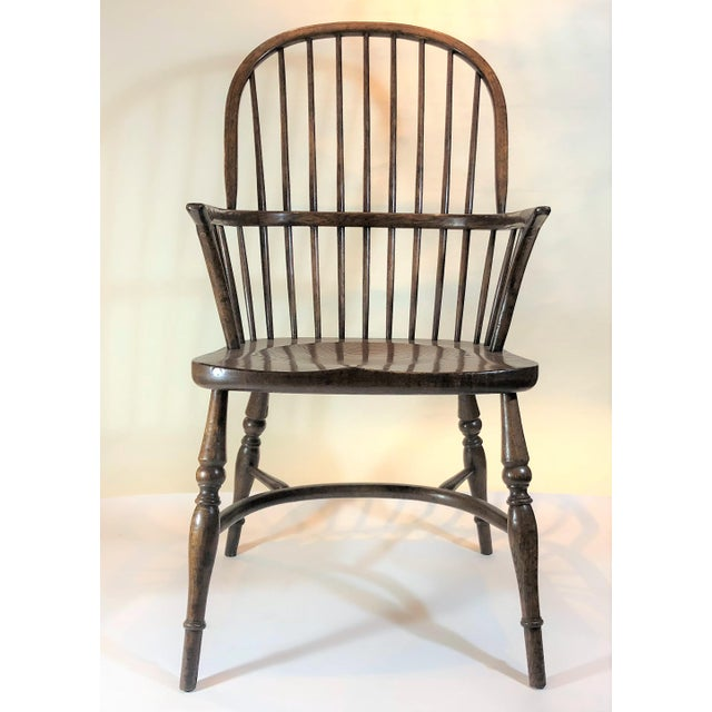 Pair English Oak Windsor Armchairs. For Sale - Image 4 of 6