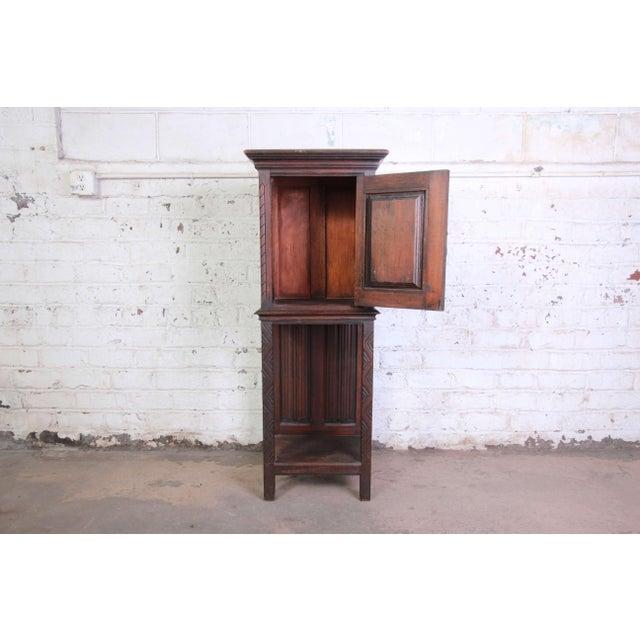 19th Century Belgian Dark Walnut Gothic Bar Cabinet For Sale - Image 4 of 10