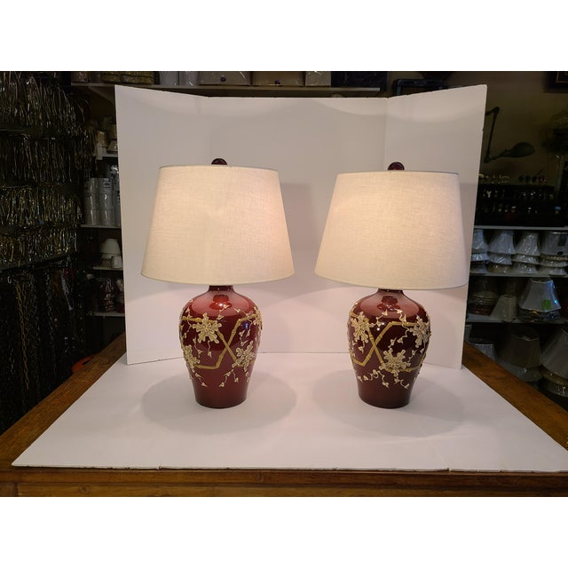 1960s Moriage Bamboo Lamps With Linen Shades- a Pair For Sale - Image 11 of 13