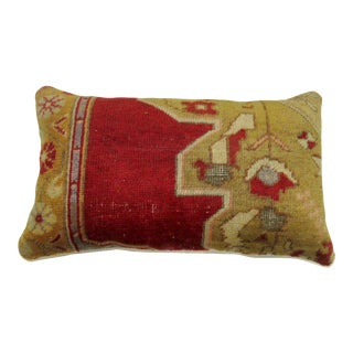 Large Red Turkish Wool Rug Pillow For Sale