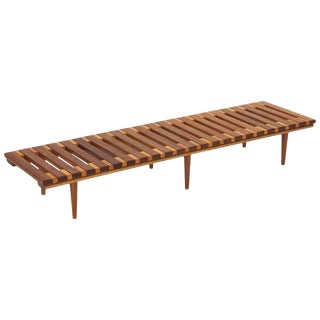 1960s Scandinavian John Keal for Brown Saltman Slat Bench Table For Sale