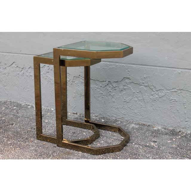 Mid-Century 2 Tier Brass Glass Nesting Tables - A Pair - Image 4 of 11