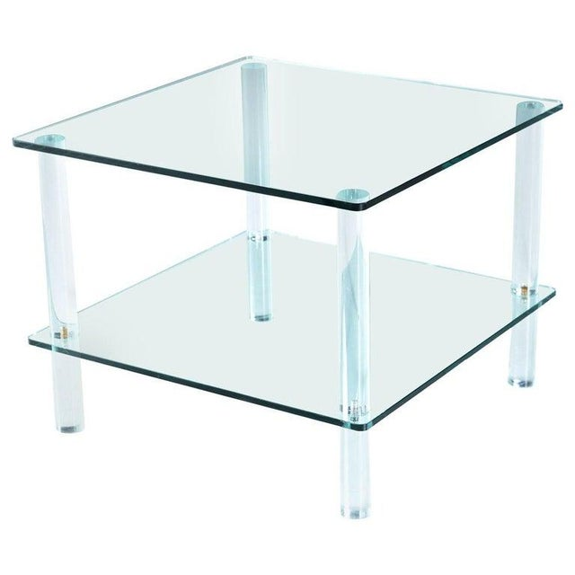 Acrylic Leon Rosen for Pace Collection Style Lucite Screw Leg and Glass Coffee Table For Sale - Image 7 of 7