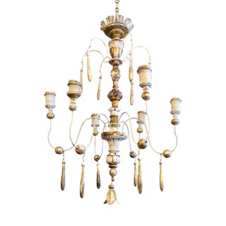 Wood and Iron Chandelier For Sale