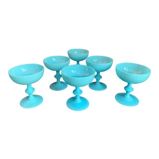 Antique French Blue Opaline Glass Champagne Goblets by Portieux Vallerysthall - Set of 6 For Sale