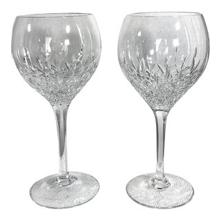 Stuart Manhattan Balloon Wine Glasses Blown Brilliant Diamond Cuts - a Pair For Sale