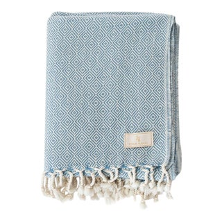 Stick & Ball Handwoven Cotton Towel in Air Blue For Sale
