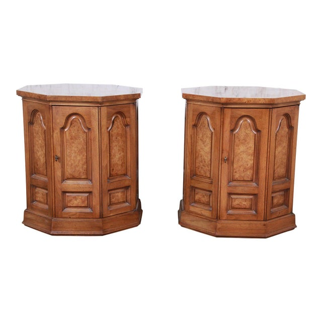 Mastercraft Mid-Century Hollywood Regency Burl Wood Cabinet Side Tables - a Pair For Sale - Image 9 of 9