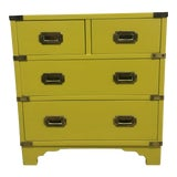 Image of 20th Century Campaign Chartreuse Chest For Sale