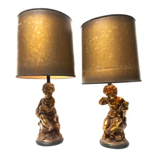 Hollywood Regency Bronze Gilded Figural Cherub Table Lamps - a Pair For Sale