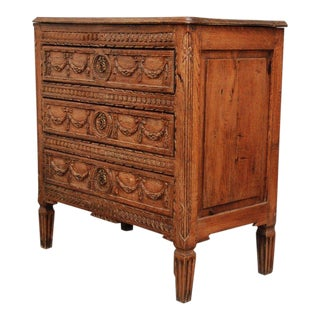 Louis XVI Small Carved Oak Commode Chest For Sale