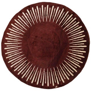 1940s Original Round Rug Designed by Jean Pascaud For Sale