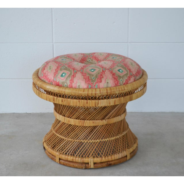 Mid-Century Woven Rattan Stool For Sale - Image 10 of 10