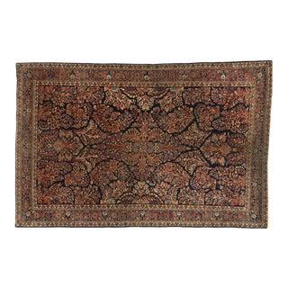 Distressed Antique Persian Mohajeran Sarouk Rug - 04'02 X 06'04 For Sale