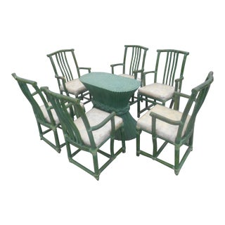 1980s Vintage McGuire Authentic Sheaf of Wheat Dining Table Set- 8 Pieces For Sale