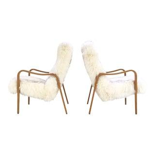 Thonet Bentwood New Zealand Sheepskin Lounge Chairs - A Pair